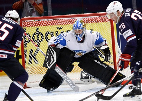 Antti Raanta i bronsmatchen mot USA. Foto: Lehtikuva/AFP Photo