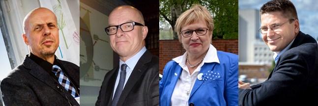 De fyra som svarade på frågorna var Göran Honga (direktör för Vasa sjukvårdsdistrikt), Jukka Kentala (vård- och omsorgsdirektör), Ulla-Maj Wideroos (riksdagsledamot, SFP) och Mikko Ollikainen (projektarbetare).