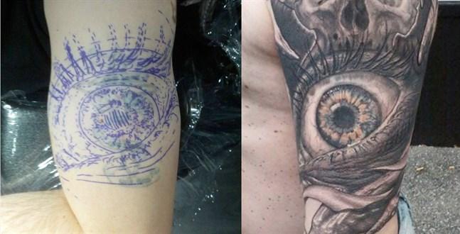 tatuera över en gammal tatuering