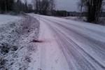 Här på Västerbyvägen i Eugmo hittades katten Fredrik på fredagsmorgonen.